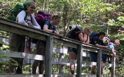 Kids with backpacks on bridge